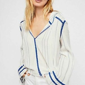 NEW Free People Shore Thing Striped Hoodie Top S